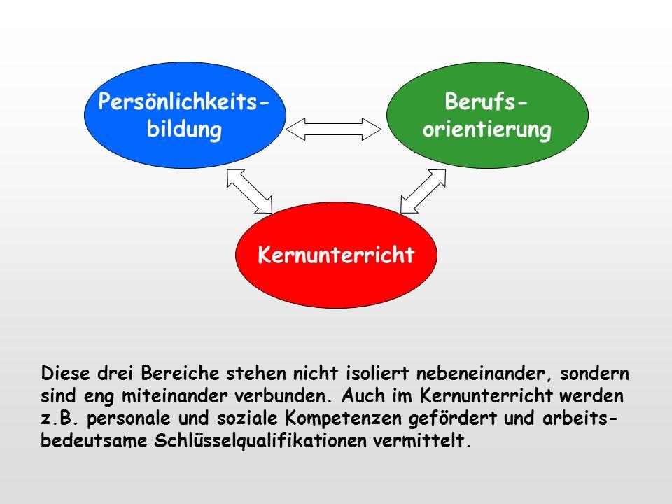 PersönlichkeitsbildungKernunterrichtBerufsvorbereitung Erlebnispädagogische Aktionen Musische und sport- orientierte AGs Lehrkraft als Lernbegleiter B