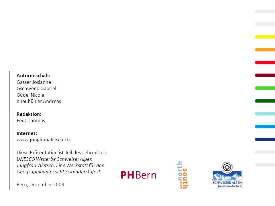Autorenschaft: Gasser Josianne Gschwend Gabriel Güdel Nicole Kneubühler Andreas Redaktion: Feuz Thomas Internet: www.jungfraualetsch.ch Diese Präsentation ist Teil des Lehrmittels UNESCO Welterbe Schweizer Alpen Jungfrau-Aletsch.
