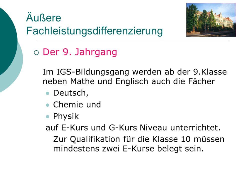 Äußere Fachleistungsdifferenzierung Der 9. Jahrgang Im IGS-Bildungsgang werden ab der 9.Klasse neben Mathe und Englisch auch die Fächer Deutsch, Chemi