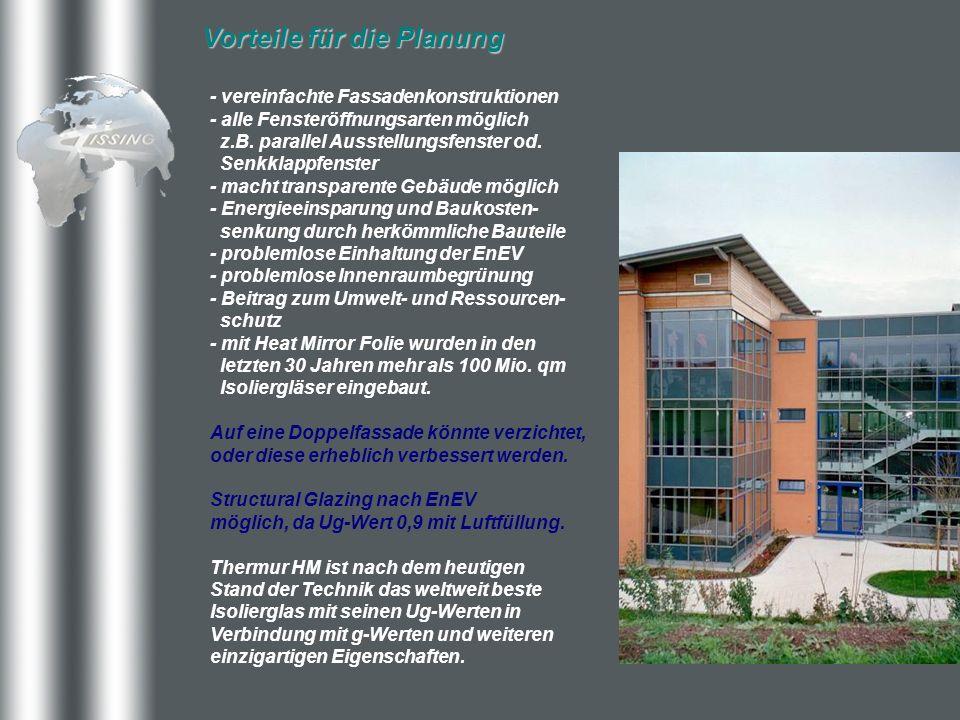 Vorteile für die Planung - vereinfachte Fassadenkonstruktionen - alle Fensteröffnungsarten möglich z.B. parallel Ausstellungsfenster od. Senkklappfens