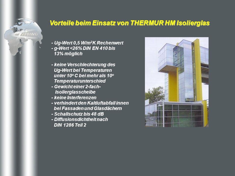 Vorteile beim Einsatz von THERMUR HM Isolierglas - Ug-Wert 0,5 W/m 2 K Rechenwert - g-Wert <26% DIN EN 410 bis 13% möglich - keine Verschlechterung de