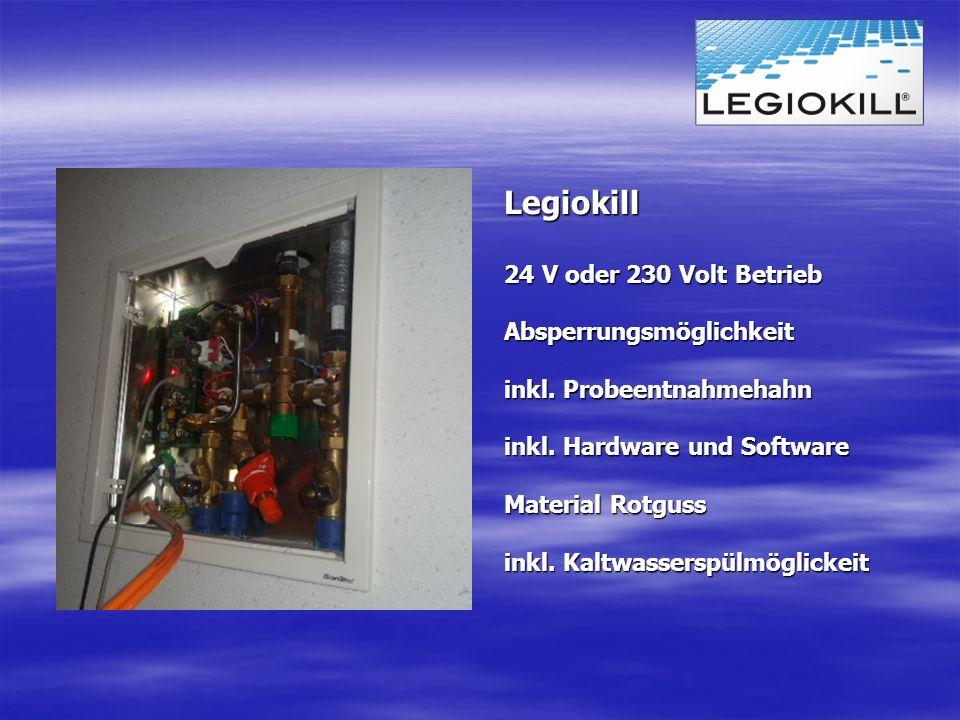 Legiokill 24 V oder 230 Volt Betrieb Absperrungsmöglichkeit inkl. Probeentnahmehahn inkl. Hardware und Software Material Rotguss inkl. Kaltwasserspülm