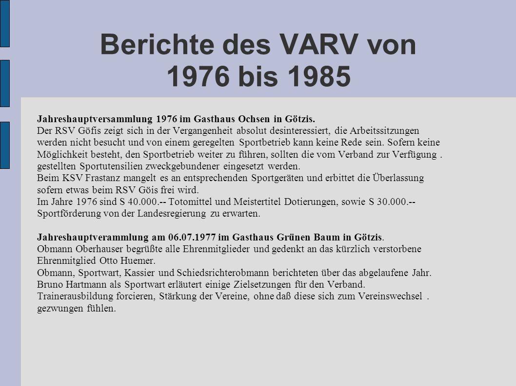 Berichte des VARV von 1976 bis 1985 Jahreshauptversammlung 1976 im Gasthaus Ochsen in Götzis. Der RSV Göfis zeigt sich in der Vergangenheit absolut de