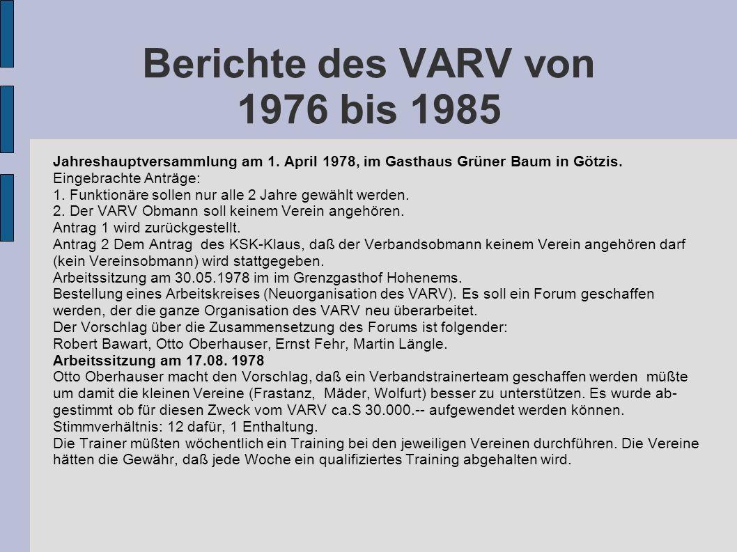 Berichte des VARV von 1976 bis 1985 Jahreshauptversammlung am 1. April 1978, im Gasthaus Grüner Baum in Götzis. Eingebrachte Anträge: 1. Funktionäre s