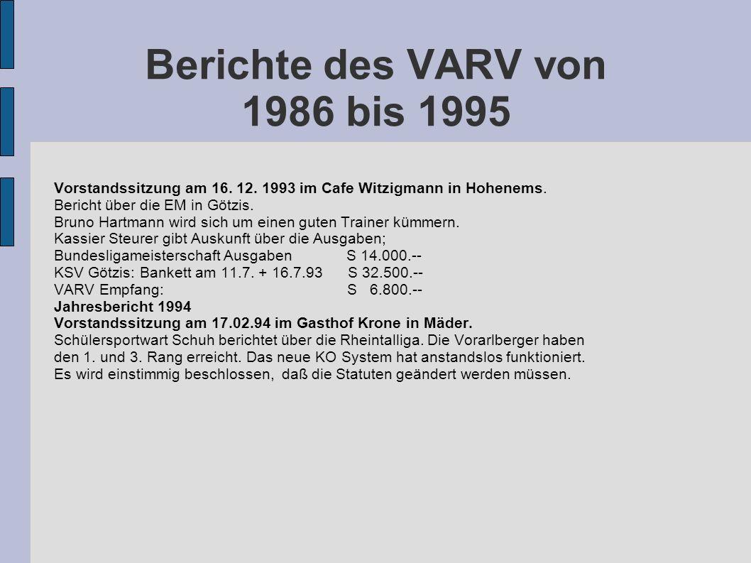 Berichte des VARV von 1986 bis 1995 Vorstandssitzung am 16. 12. 1993 im Cafe Witzigmann in Hohenems. Bericht über die EM in Götzis. Bruno Hartmann wir