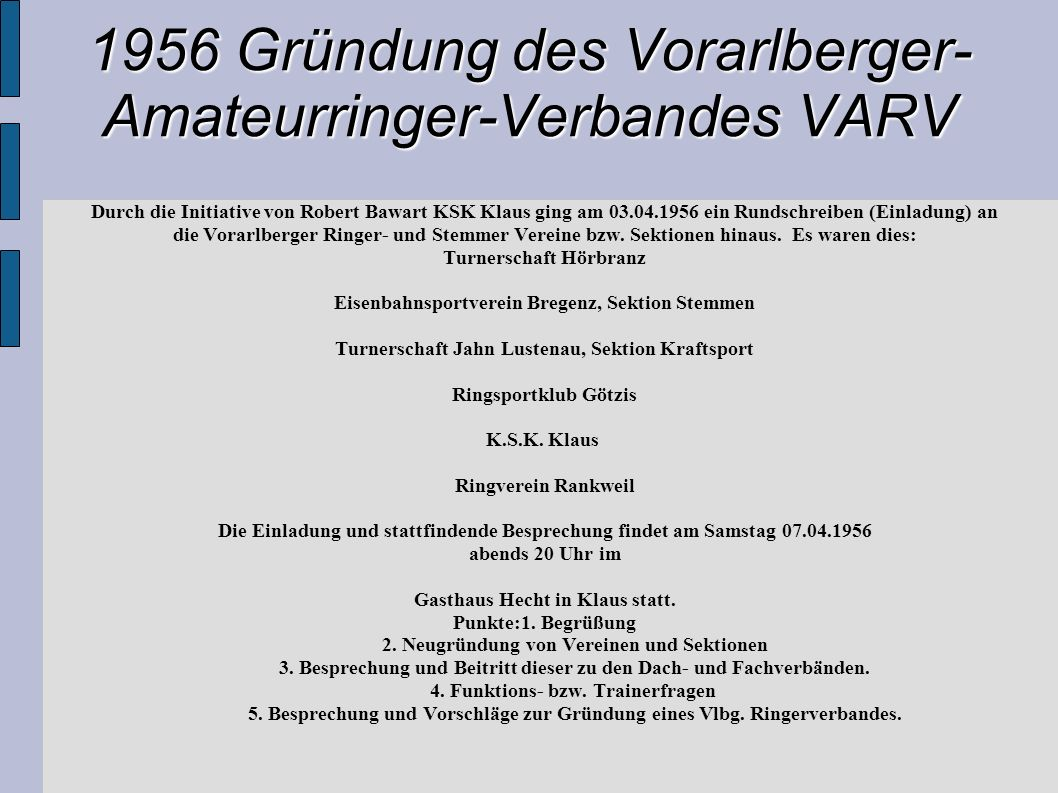 1956 Gründung des Vorarlberger- Amateurringer-Verbandes VARV Durch die Initiative von Robert Bawart KSK Klaus ging am 03.04.1956 ein Rundschreiben (Ei