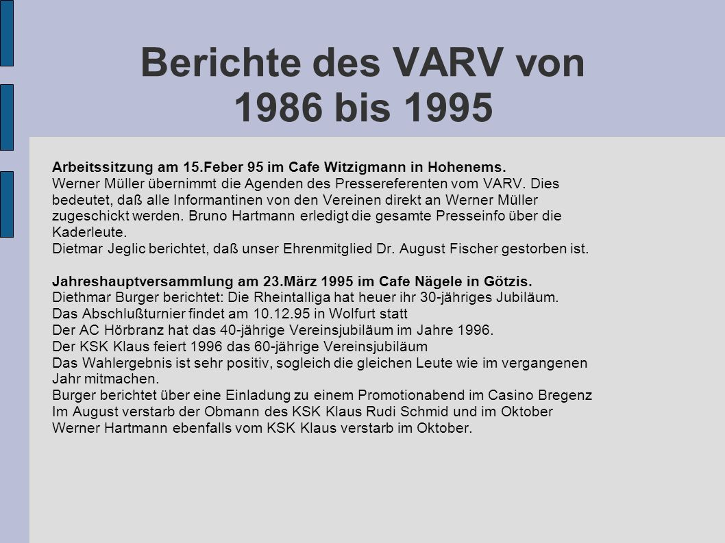Berichte des VARV von 1986 bis 1995 Arbeitssitzung am 15.Feber 95 im Cafe Witzigmann in Hohenems. Werner Müller übernimmt die Agenden des Presserefere