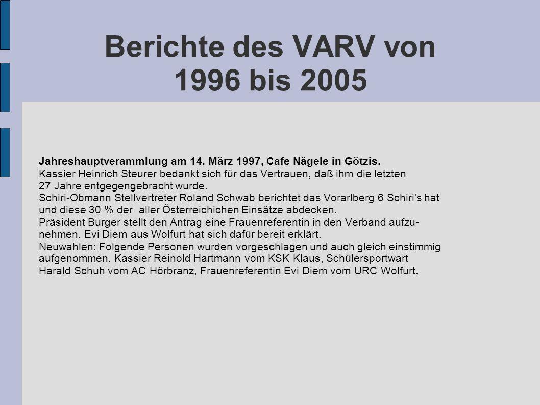 Berichte des VARV von 1996 bis 2005 Jahreshauptverammlung am 14. März 1997, Cafe Nägele in Götzis. Kassier Heinrich Steurer bedankt sich für das Vertr