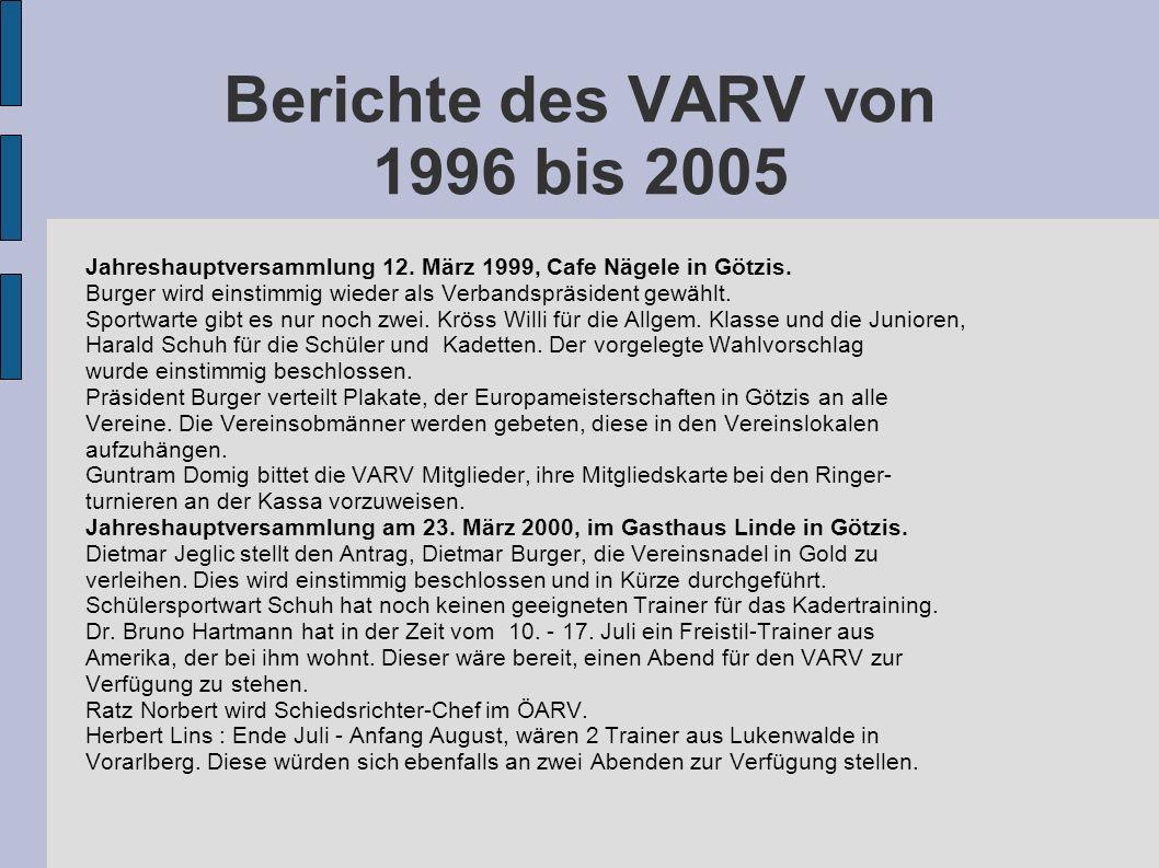 Berichte des VARV von 1996 bis 2005 Jahreshauptversammlung 12. März 1999, Cafe Nägele in Götzis. Burger wird einstimmig wieder als Verbandspräsident g