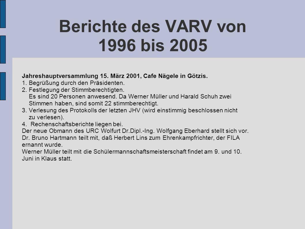 Berichte des VARV von 1996 bis 2005 Jahreshauptversammlung 15. März 2001, Cafe Nägele in Götzis. 1. Begrüßung durch den Präsidenten. 2. Festlegung der