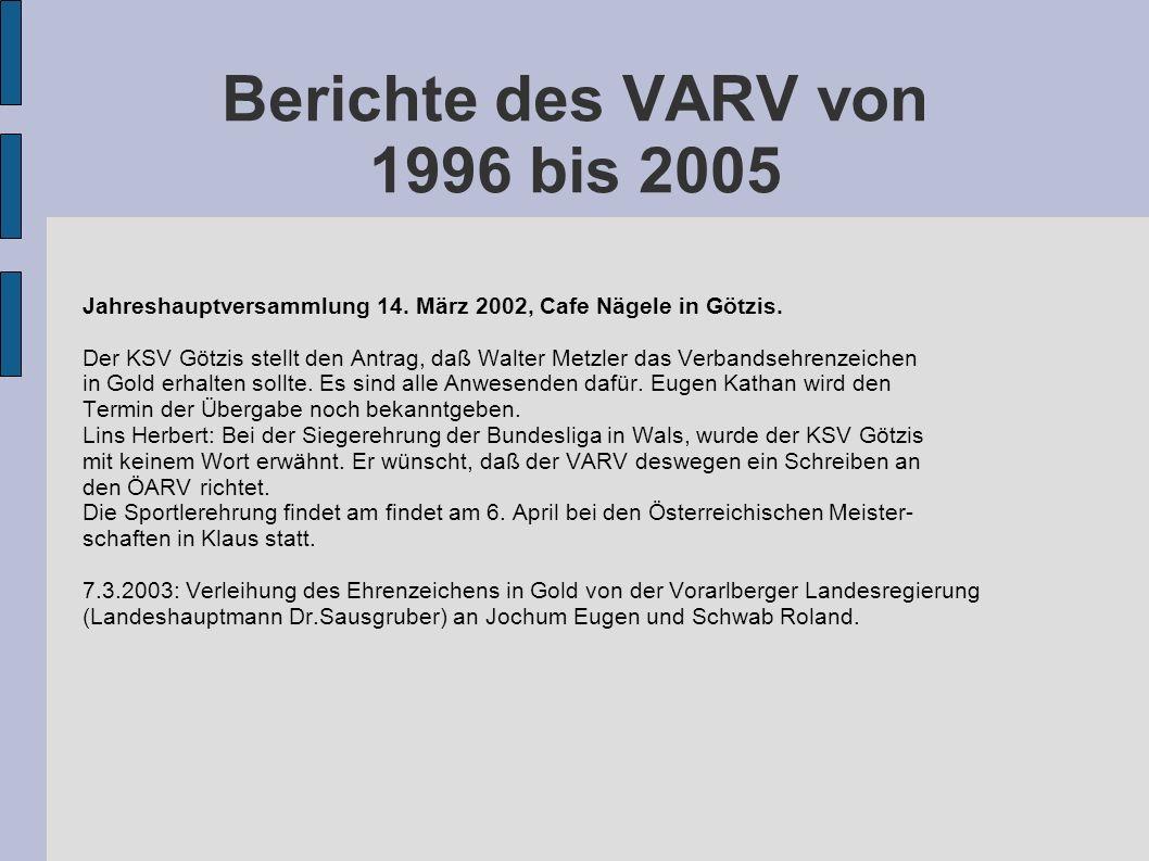 Berichte des VARV von 1996 bis 2005 Jahreshauptversammlung 14. März 2002, Cafe Nägele in Götzis. Der KSV Götzis stellt den Antrag, daß Walter Metzler
