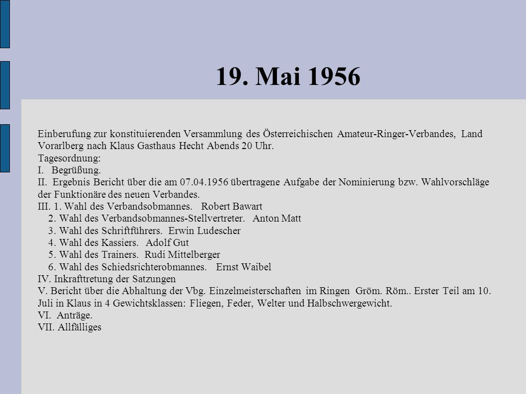 19. Mai 1956 Einberufung zur konstituierenden Versammlung des Österreichischen Amateur-Ringer-Verbandes, Land Vorarlberg nach Klaus Gasthaus Hecht Abe