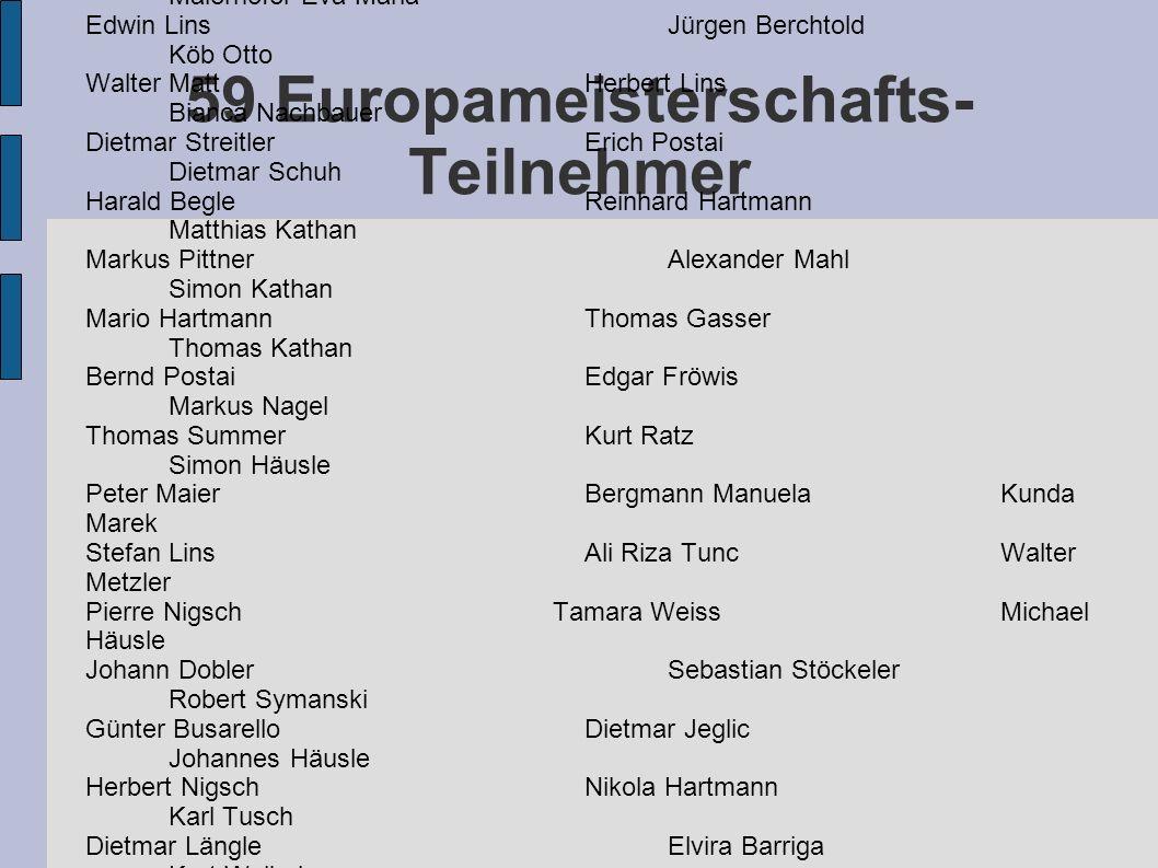 59 Europameisterschafts- Teilnehmer Werner LängleWalter Matt Maierhofer Eva-Maria Edwin LinsJürgen Berchtold Köb Otto Walter MattHerbert Lins Bianca N