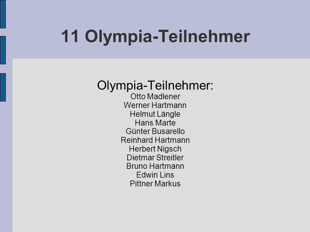 11 Olympia-Teilnehmer Olympia-Teilnehmer: Otto Madlener Werner Hartmann Helmut Längle Hans Marte Günter Busarello Reinhard Hartmann Herbert Nigsch Die