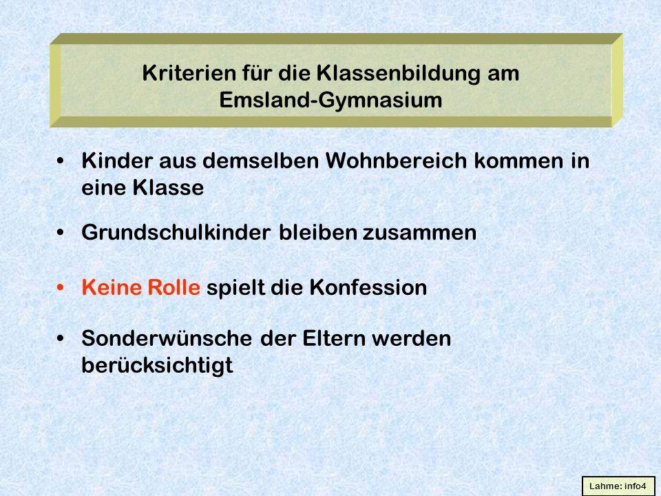 Kriterien für die Klassenbildung am Emsland-Gymnasium Kinder aus demselben Wohnbereich kommen in eine Klasse Grundschulkinder bleiben zusammen Keine R