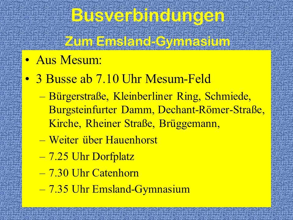 Busverbindungen Zum Emsland-Gymnasium Aus Mesum: 3 Busse ab 7.10 Uhr Mesum-Feld –Bürgerstraße, Kleinberliner Ring, Schmiede, Burgsteinfurter Damm, Dec