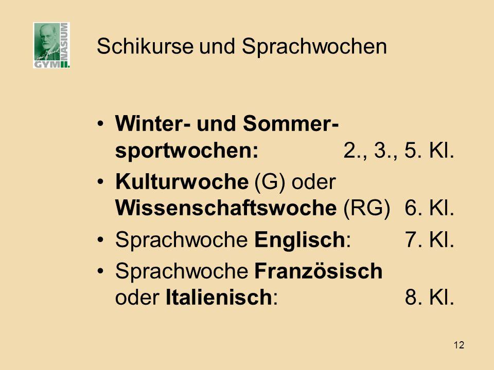 12 Schikurse und Sprachwochen Winter- und Sommer- sportwochen: 2., 3., 5.