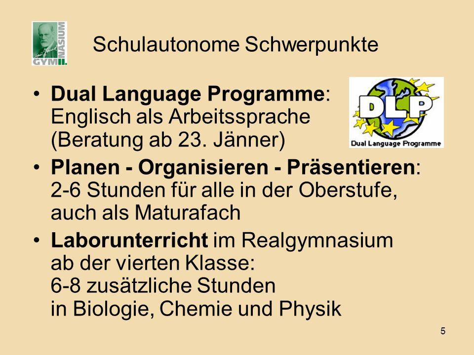 5 Schulautonome Schwerpunkte Dual Language Programme: Englisch als Arbeitssprache (Beratung ab 23.