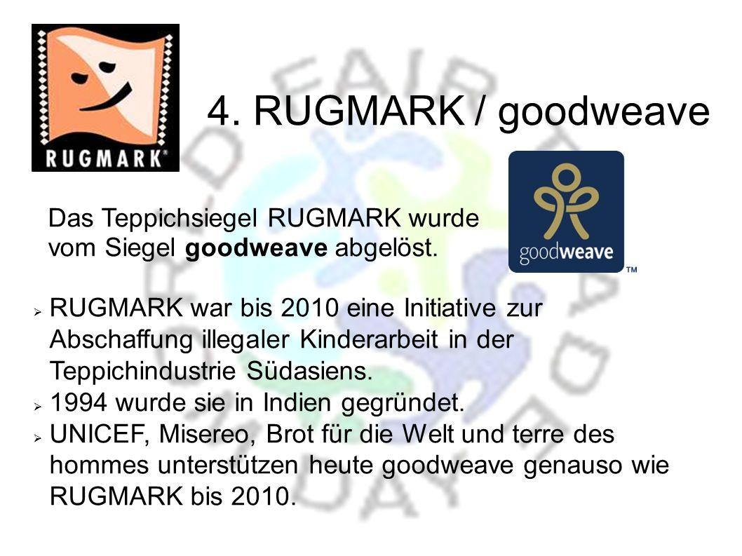 Das Teppichsiegel RUGMARK wurde vom Siegel goodweave abgelöst.