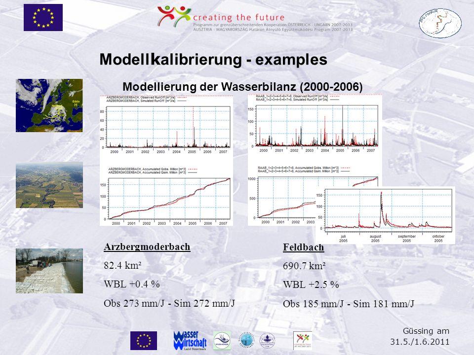 Güssing am 31.5./1.6.2011 Modell k alibrierung - examples Modellierung der Wasserbilanz (2000-2006) Arzbergmoderbach 82.4 km² WBL +0.4 % Obs 273 mm/J
