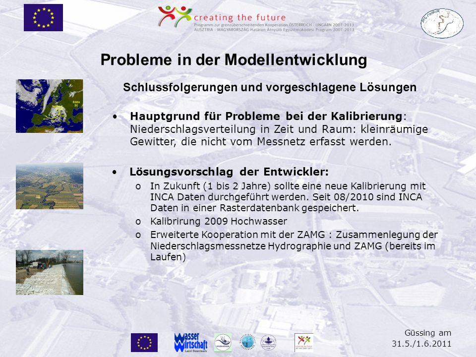 Güssing am 31.5./1.6.2011 Probleme in der Modellentwicklung Schlussfolgerungen und vorgeschlagene Lösungen Hauptgrund für Probleme bei der Kalibrierun