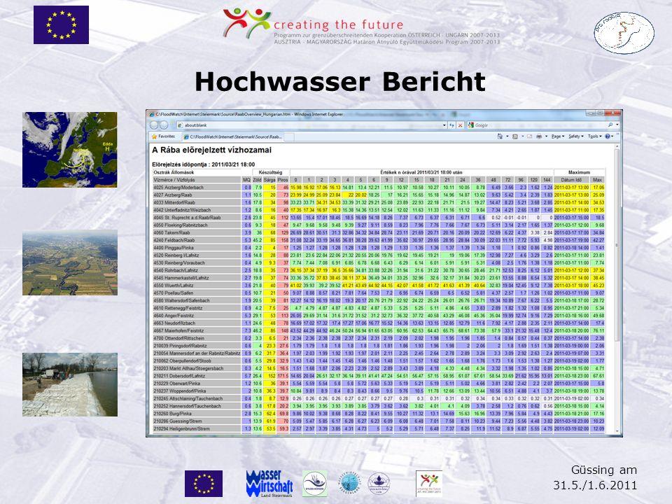 Güssing am 31.5./1.6.2011 Hochwasser Bericht