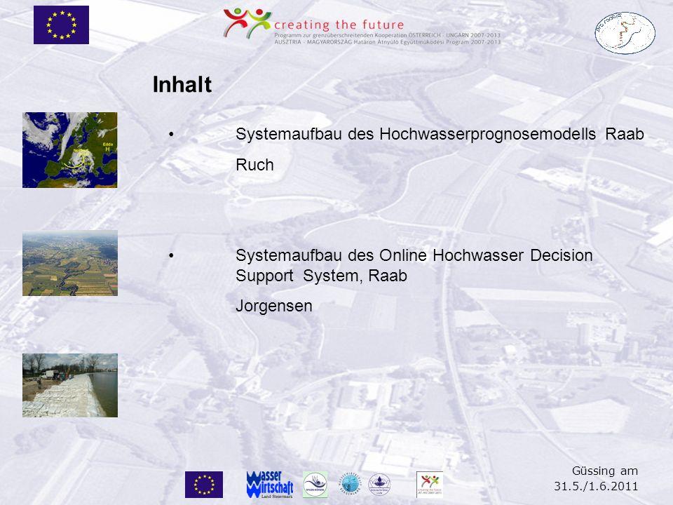 Güssing am 31.5./1.6.2011 Systemaufbau des Hochwasserprognosemodells Raab Ruch Systemaufbau des Online Hochwasser Decision Support System, Raab Jorgen