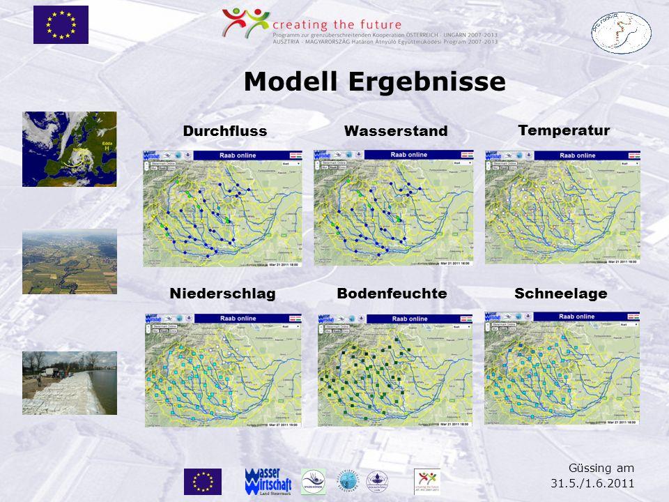 Güssing am 31.5./1.6.2011 Modell Ergebnisse DurchflussWasserstand Temperatur NiederschlagBodenfeuchteSchneelage