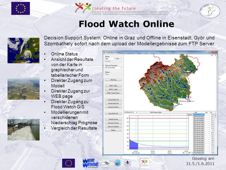 Güssing am 31.5./1.6.2011 Flood Watch Online Decision Support System: Online in Graz und Offline in Eisenstadt, Györ und Szombathely sofort nach dem u