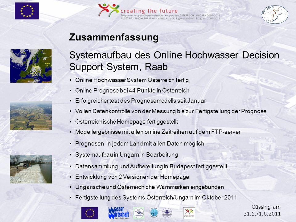 Güssing am 31.5./1.6.2011 Zusammenfassung Systemaufbau des Online Hochwasser Decision Support System, Raab Online Hochwasser System Österreich fertig