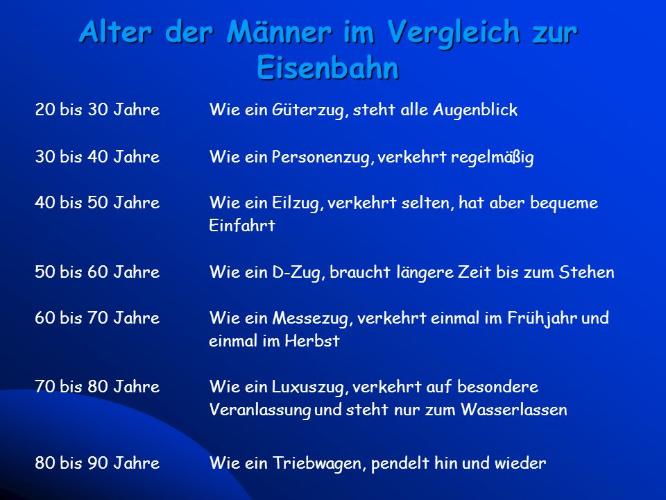 5 Universal McCann - Vienna March 23, 2000 Alter der Männer im Vergleich zur Eisenbahn 20 bis 30 JahreWie ein Güterzug, steht alle Augenblick 30 bis 4