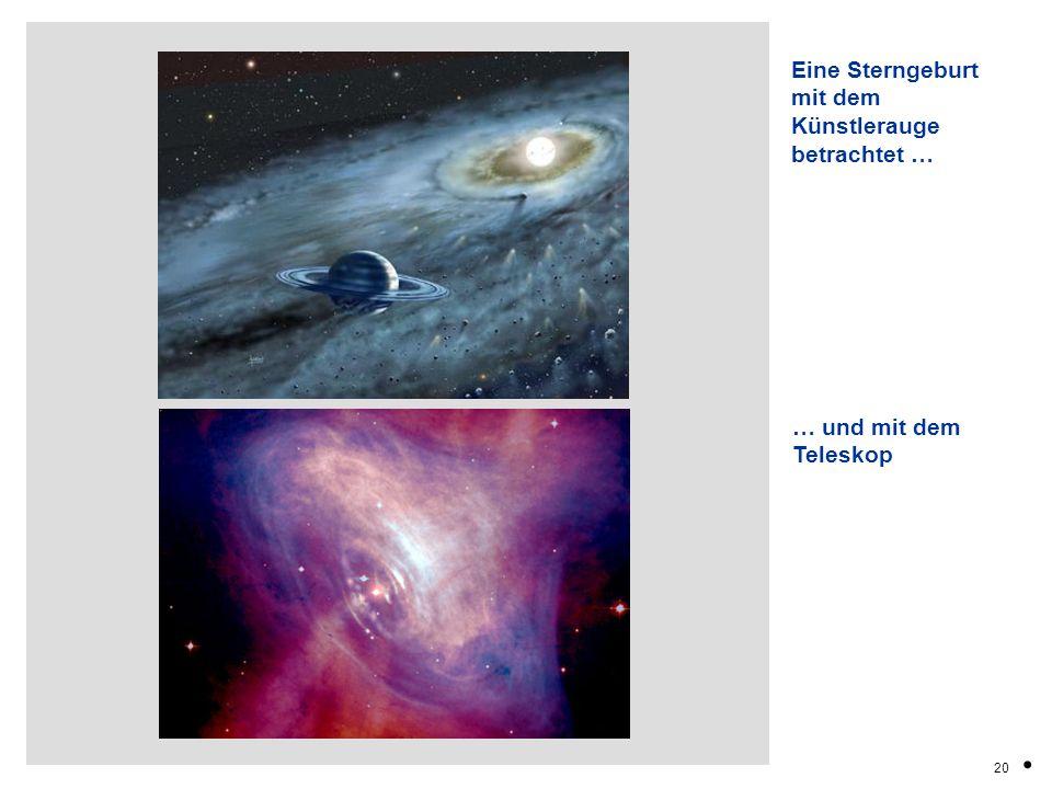 20. Eine Sterngeburt mit dem Künstlerauge betrachtet … … und mit dem Teleskop