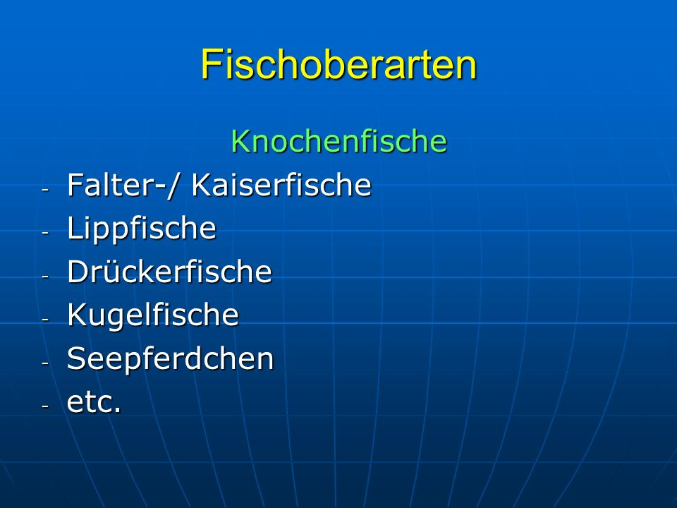 Fischoberarten Knorpelfische - Haie - Rochen - Gitarrenrochen Diese Präsentation kann nicht alle Fischarten und –formen wiedergeben, da dies den Umfang hier sprengen würde.