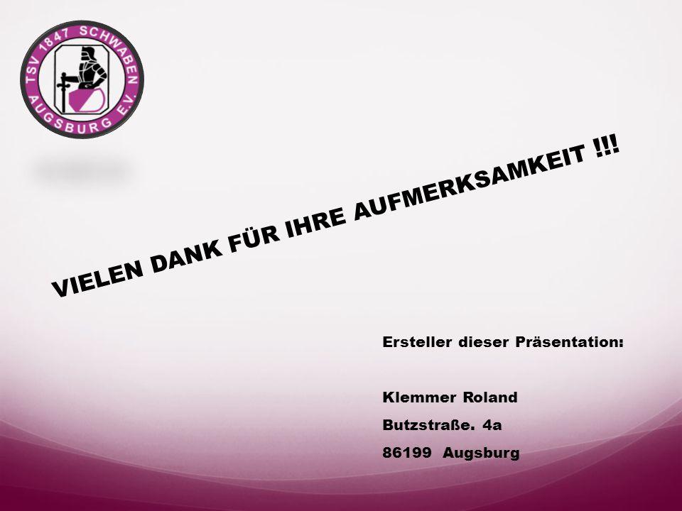 Impressum Hauptverein Vereinsanschrift: TSV 1847 Augsburg Schwaben e.V. Stauffenbergstr. 15 86161 Augsburg Präsident:Gerhard Benning Mitglieder: 2480