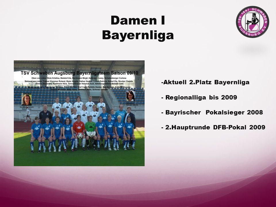 Damen I Bayernliga -Aktuell 2.Platz Bayernliga - Regionalliga bis 2009 - Bayrischer Pokalsieger 2008 - 2.Hauptrunde DFB-Pokal 2009