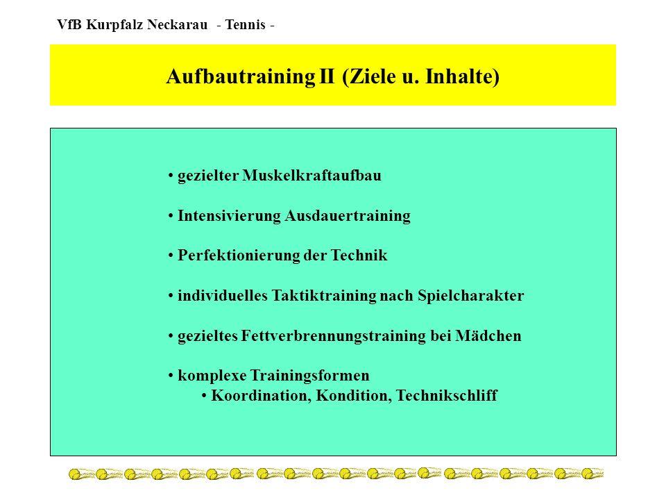 VfB Kurpfalz Neckarau - Tennis - Aufbautraining II (Planung) detaillierter Saisontrainingsplan Belastung und Beanspruchung stetig erhöhen gezielte Regenerationsprogramme nach Möglichkeit zweiter Trainingstag einlegen taktisch den kompletten Matchverlauf trainieren 3x/Woche