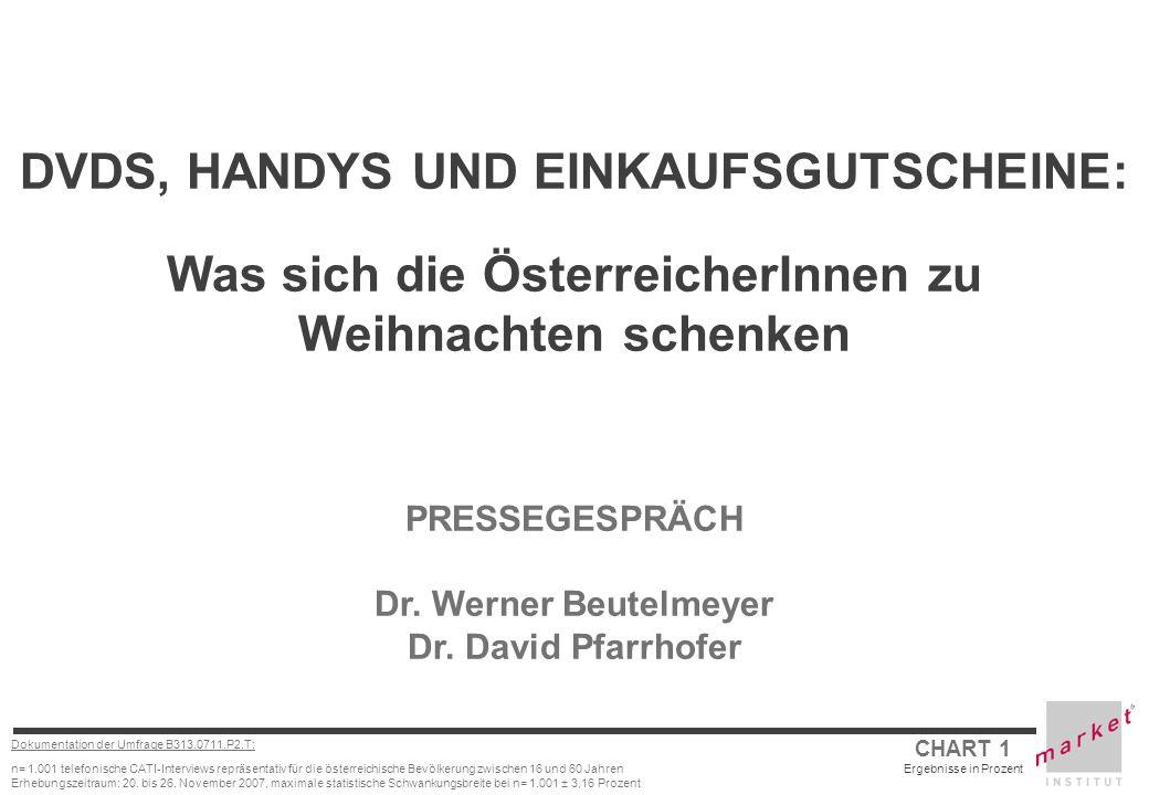 CHART 1 Ergebnisse in Prozent Dokumentation der Umfrage B313.0711.P2.T: n= 1.001 telefonische CATI-Interviews repräsentativ für die österreichische Be