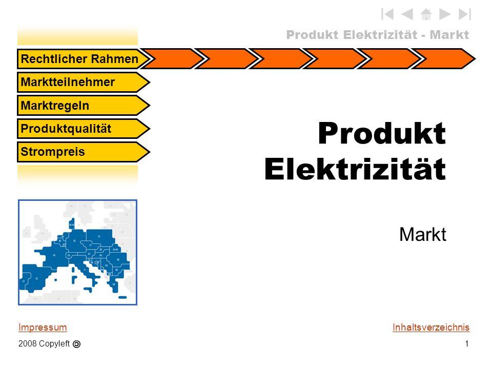 Produkt Elektrizität - Markt 1 Rechtlicher Rahmen Marktteilnehmer Marktregeln Produktqualität Strompreis Inhaltsverzeichnis Produkt Elektrizität Markt