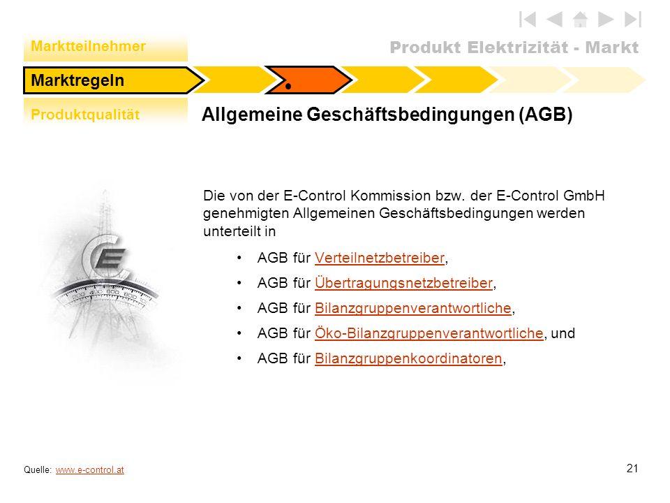 Produkt Elektrizität - Markt 21 Allgemeine Geschäftsbedingungen (AGB) Die von der E-Control Kommission bzw. der E-Control GmbH genehmigten Allgemeinen