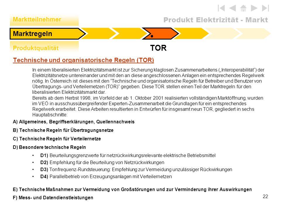 Produkt Elektrizität - Markt 22 Technische und organisatorische Regeln (TOR) In einem liberalisierten Elektrizitätsmarkt ist zur Sicherung klaglosen Z