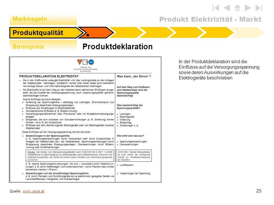 Produkt Elektrizität - Markt 25 Produktdeklaration Produktqualität Quelle: www.veoe.atwww.veoe.at In der Produktdeklaration sind die Einflüsse auf die