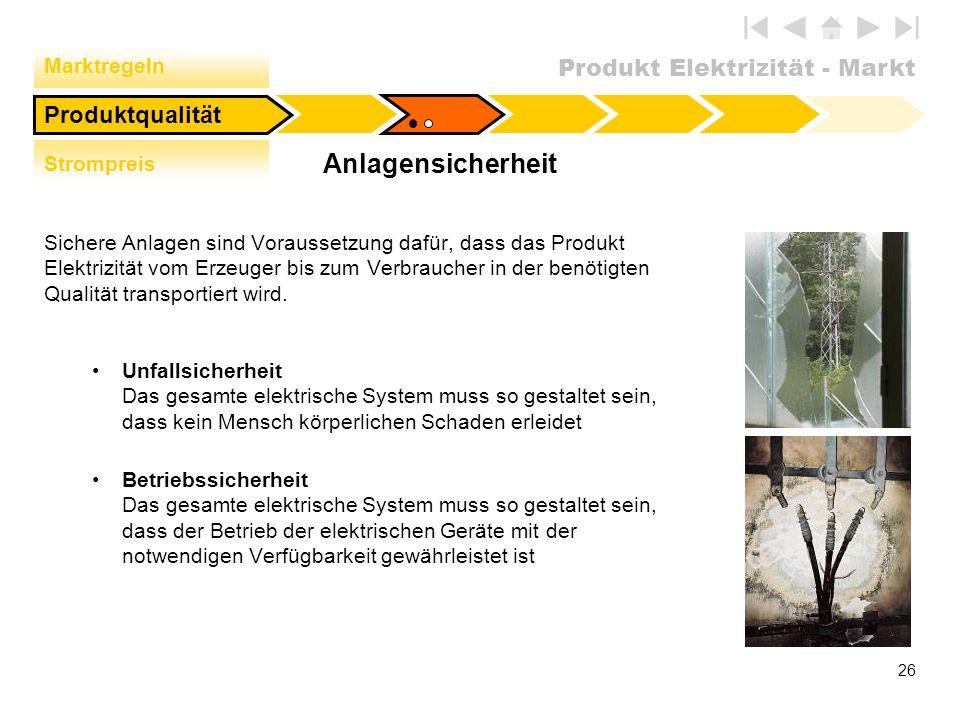 Produkt Elektrizität - Markt 26 Anlagensicherheit Sichere Anlagen sind Voraussetzung dafür, dass das Produkt Elektrizität vom Erzeuger bis zum Verbrau