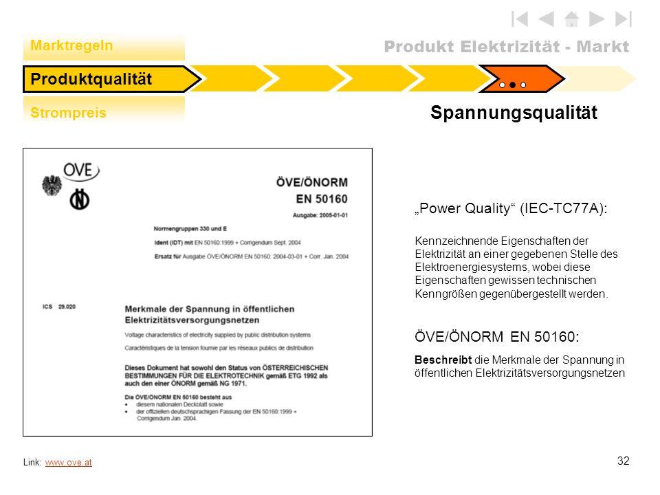 Produkt Elektrizität - Markt 32 Spannungsqualität Link: www.ove.atwww.ove.at Power Quality (IEC-TC77A): Kennzeichnende Eigenschaften der Elektrizität