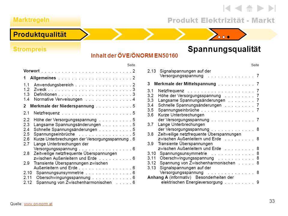 Produkt Elektrizität - Markt 33 Spannungsqualität Quelle: www.on-norm.atwww.on-norm.at Produktqualität Strompreis Marktregeln Inhalt der ÖVE/ÖNORM EN5
