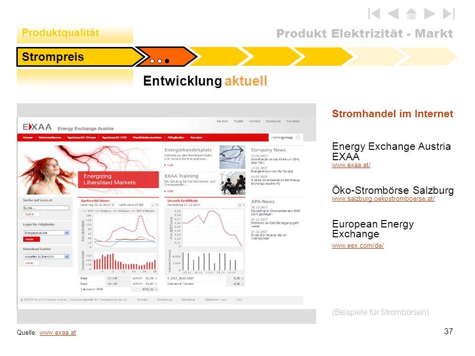 Produkt Elektrizität - Markt 37 Quelle: www.exaa.atwww.exaa.at Stromhandel im Internet Energy Exchange Austria EXAA www.exaa.at/ www.exaa.at/ Öko-Stro