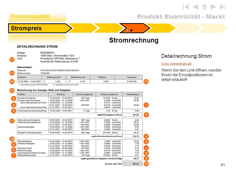 Produkt Elektrizität - Markt 41 Strompreis Detailrechnung Strom (www.wienenergie.at)www.wienenergie.at Wenn Sie den Link öffnen, werden Ihnen die Einz