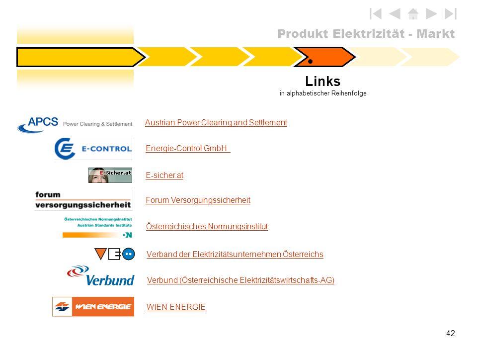 Produkt Elektrizität - Markt 42 Austrian Power Clearing and Settlement E-sicher.at Österreichisches Normungsinstitut Forum Versorgungssicherheit Links