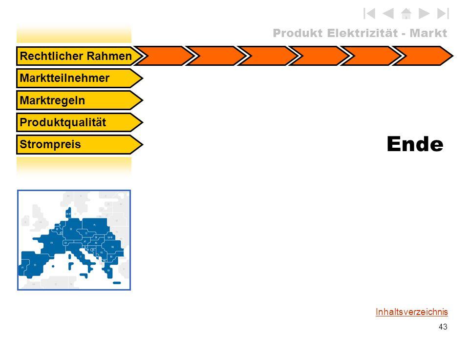 Produkt Elektrizität - Markt 43 Inhaltsverzeichnis Rechtlicher Rahmen Marktteilnehmer Marktregeln Produktqualität Strompreis Ende