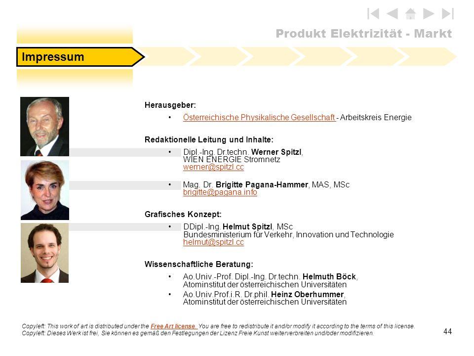 Produkt Elektrizität - Markt 44 Herausgeber: Österreichische Physikalische Gesellschaft - Arbeitskreis EnergieÖsterreichische Physikalische Gesellscha