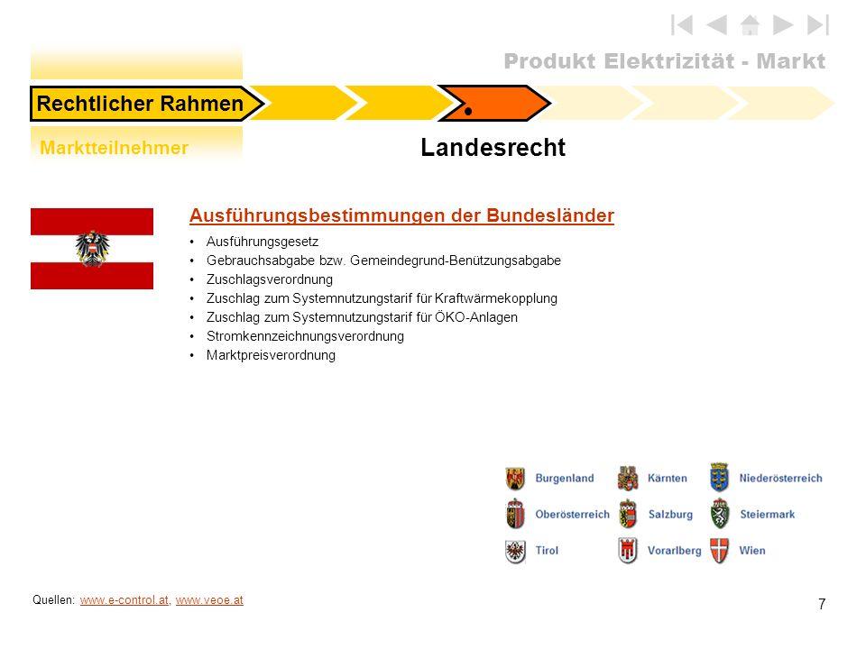 Produkt Elektrizität - Markt 7 Landesrecht Marktteilnehmer Quellen: www.e-control.at, www.veoe.atwww.e-control.atwww.veoe.at Rechtlicher Rahmen Ausfüh
